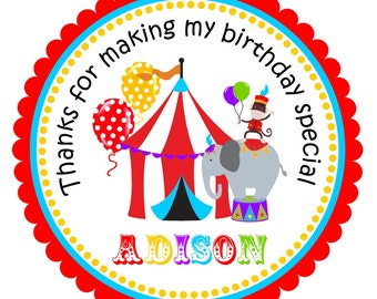 Circus Stickers, Circus tent  Labels, Carnival Gift Tags, Carnival Birthday Party  - set of 12