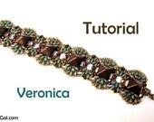 Tutorial Veronica SuperDuo and Pyramid beads  Beadwork Bracelet PDF