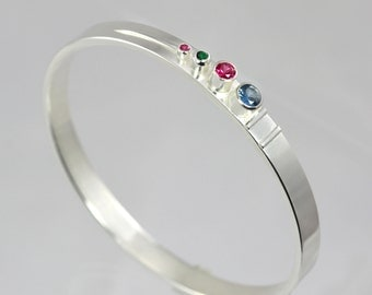 4 Stone Sequence Mother Bangle (Made to Order)