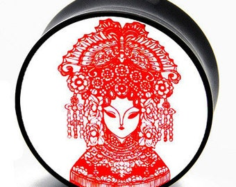 """7/16"""" (11mm) Chinese Paper Cutting Girl with Adornment Plugs BMA Pair"""