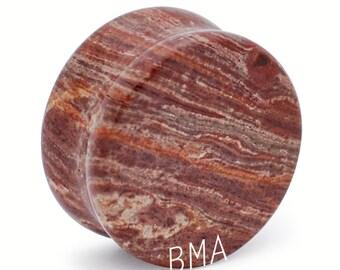 "7/8"" (22mm) Truffle Brown Jasper Stone Plugs #1235 [SINGLE PLUG]"