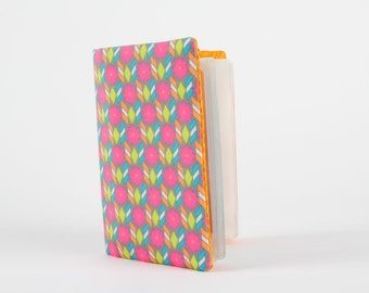Fabric card holder - Palazzo gris / Petit Pan french fabric / neon colors / pink orange green blue flowers / geometric dots chevron modern