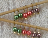 Sock Knitting Stitch Markers - Tiny Simple Autumn Pearls - snag free - 6mm round pearl beads - set of 12 - small loops