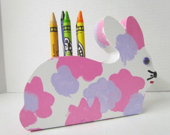Bunny Crayon Holder~Wooden Crayon Holder~ Pink~Purple~White~ Crayon Holder with Crayons~Educational~Artist~Classroom~Teacher~Birthday~Child