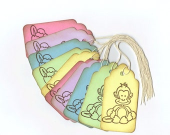 Wish Tree Tags - Pastel Monkeys Hand Stamped Large Scallop Die Cut Hang Tags (Set of 10)