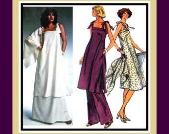 Vintage 1970s-Breezy Chic Evening Ensemble-Vogue Designer Sewing Pattern-BILL BLASS -Dress -Tunic-Skirt -Pants- Shawl- Uncut- Size 10- Rare