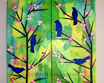 Bluebirds and cherry blossoms collage with hand painted papers set of two original artwork dyed tissue papers