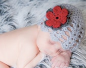 Baby Girl Newborn crochet Shell Pattern Gray Grey Spring Hat Summer Hat Flower Beanie Hat Photo Prop Hat