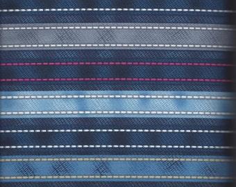 Price Reduced!  Blue Small Stitching Stripe (24406-BLU1) - BTY - Spectix