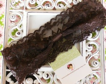 NEW ITEM----Boutique INTERCHANGABLE 2 Inch Lace Girl Headband---Chocolate Brown
