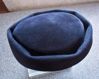 Vintage Soft Velour Navy Blue Valerie Hat w. Brim