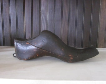 Antique Wooden Shoe Mold with Hanging Loop