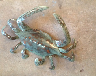 Crab Metal handmade Wall Sculpture  25in wideTropical Beach Coastal Decor Art