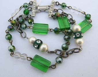 Repurposed Vintage Emerald Green Bracelet