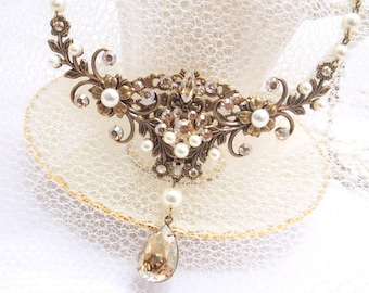 Bridal necklace, antique brass necklace, wedding necklace, vintage style necklace, bridal jewelry, Swarovski crystals and pearls