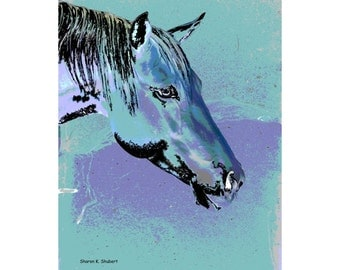 Horse Art, Aqua Blue and Purple Lilac Lavender, Equine Totem Animal, Farm Ranch, Fauvism Home Decor, Wall Hanging, Giclee Print, 8 x 10