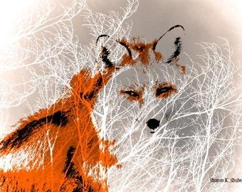 Red Fox Art, Southwestern Totem Animal, Photomontage Composition, Orange Gray Home Decor, Wall Hanging, Digital Giclee Print, 8 x 10