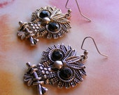 Silver Owls with Black Jewels Earrings-metal, 2 1/4 inches or 5 1/2 cm