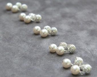 Bridesmaid Earrings Set of 7, Bridal Party Jewelry Gifts, Pearl Stud Earrings, Vintage Style Silver Posts, Swarovski Pearl Drop Earrings