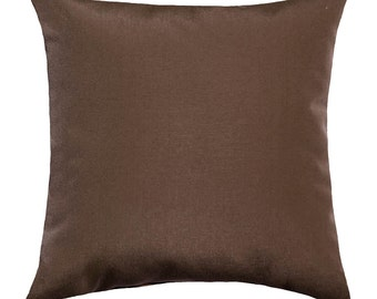 Brown Outdoor Pillow, Richloom Solar Praline Brown Solid Outdoor Decorative Pillow Free Shipping