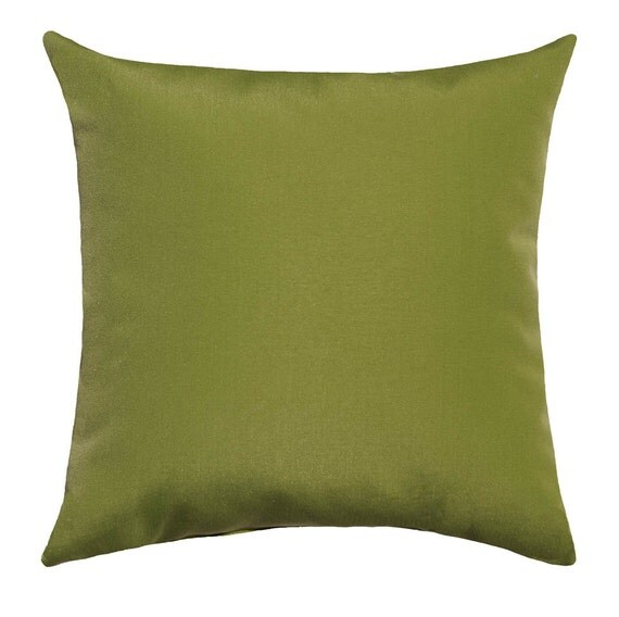 Solid Kiwi Throw Pillow - Richloom Solarium Solar Kiwi Green Square or Lumbar Outdoor Decorative Pillow Free Shipping