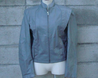 Leather Jacket Coat Vintage 1970s  Gray Men's size 38