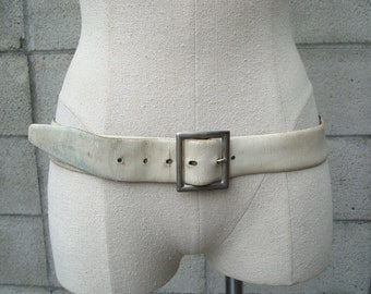 Leather Belt Vintage 1970s White and Blue Reversible Distressed Leather Belt