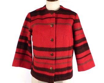 Wool Stripe Jacket Vintage 1960s Red Coat Women's Lady R
