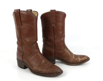 Brown Cowboy Boots Vintage 1980s Laredo Roper Distressed Women's size 6