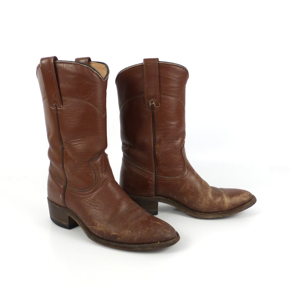 brown cowboy boots vintage 1980s laredo roper distressed