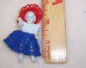 """cute red/white and blue crocheted doll dress for a doll 2-2 1/2"""" tall"""