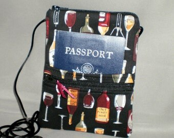 Passport Purse - Sling Bag - Small Mini Purse - Wallet on a String - Wine - Wine Bottles - Merlot