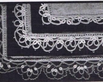 5304 Vintage Tatting PATTERN for Handkerchief Edges taken from 1950s Workbasket PDF instant download