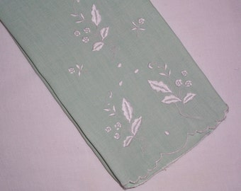 Vintage Light Green Towel with Hand Embroidery