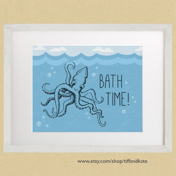 Bath Time 8x10 Bathroom Art Print Squid Octopus Under The Sea