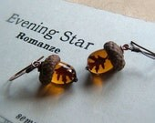 Glass Autumn Acorn Earrings Topaz with Encased Copper Leaves by Bullseyebeads