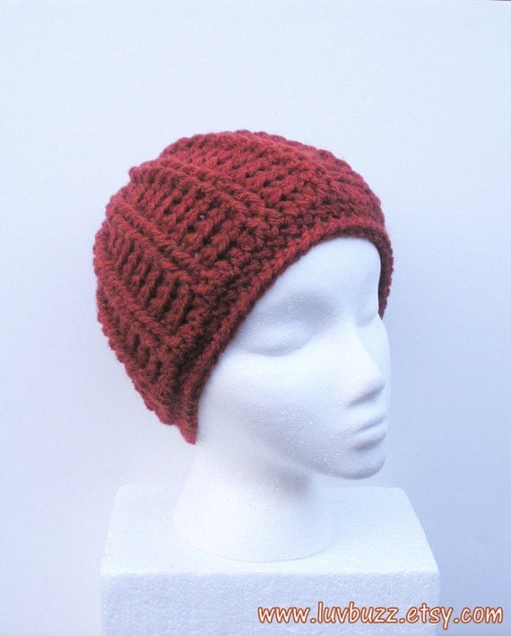 3416de8cce9 Super Chunky Crochet Beanie Hat in Burnt Orange Rust by luvbuzz ...