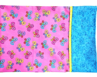 Butterfly Pillow Case Pink Turquoise
