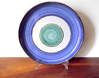 Modernist Gordon MARTZ Marshall Studios Art Pottery Platter, Plate, Low Bowl, Blue, Green, White