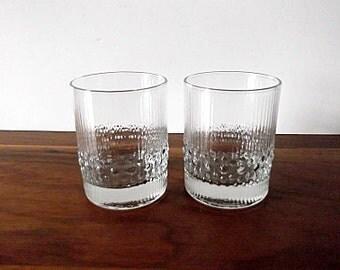 "Vintage Durobor Belgium ""Alaska"" Ice Textured Glass Tumblers, Scandinavian Style"
