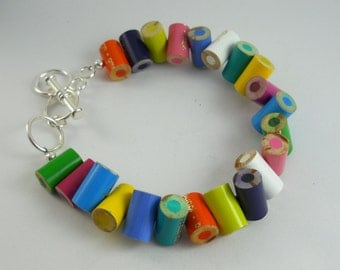 Colored Pencil Adjustable Bracelet Jewelry - Great Artist, Teacher, Crafter, Student or Art Lover Gift - Rainbow Multi Color