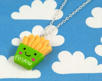 Kawaii Happy Fries Necklace Green