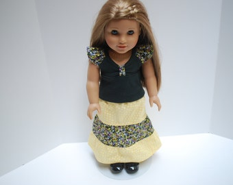 18 Inch Doll Clothes for American Girl - 3 Pc Yellow and Black Flower Outfit Includes Shoes