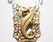 Sea Horse Necklace Filigree Gold Clear Vintage Crystal Chain Handmade Jewelry