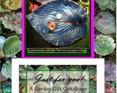 Bird bath or bird feeder (Gift Certificate) to be created from a live leaf - Custom or In-Stock items ~ A 75 Dollar Gift Card