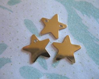 "Shop Sale.. 1 5 10 pc, STAR Pendant Charm, 14k Gold Filled or Sterling Silver, 12.5 mm, 1/2"" inch, in, 24 gauge, astrology blankstar1 sc.12"