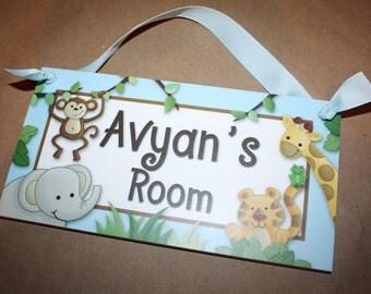 Baby Blue Jungle Animals DOOR SIGN Boys Bedroom Baby Nursery Wall Art DS0048