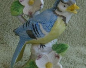 Vintage Lefton Blue Jay Bird Figurine Japan 1950s Napco Flowers Pink Ardco 3653