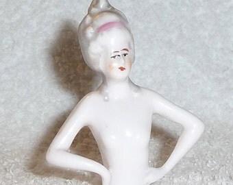 Vintage German Half Doll Lady Marie Antoinette Pink Pincushion Figurine Art Deco 1930s Hand Painted MARKED