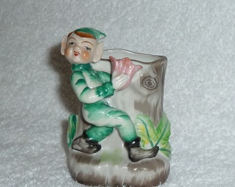 Vintage Pixie Elf Sprite Planter Vase Occupied Japan Christmas Green Pink